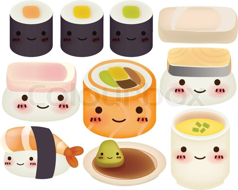 Onigiri Cute Wallpaper Sushi Collection Vector File Eps10 Stock Vector