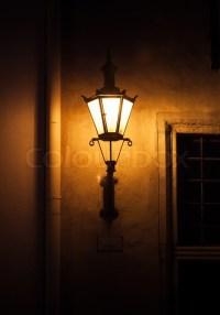 Old street lamp light on the wall at night Old town of ...