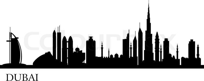 Dubai Stadt Silhouette  Vektorgrafik  Colourbox