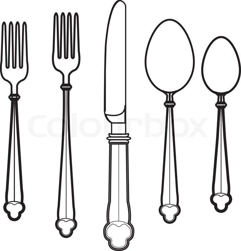 Doodle style eating utensils illustration in vector format