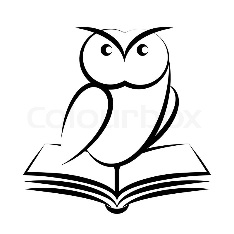 Cartoon of owl and book  symbol of   Stock vector