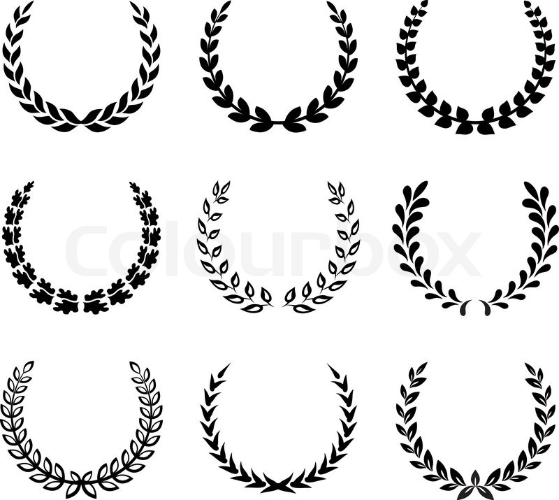 Black laurel wreaths isolated on white background. Vector