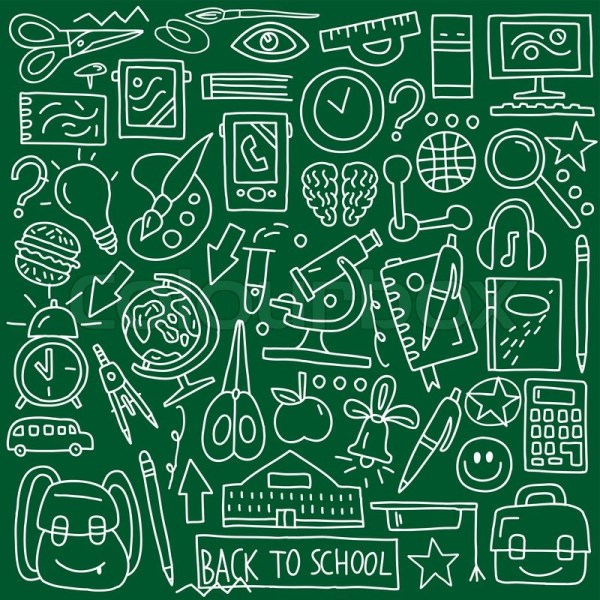 School Education - Icons In Sketch Style Stock Vector