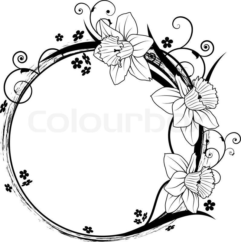 Vector Grunge Floral Circle Frame Design