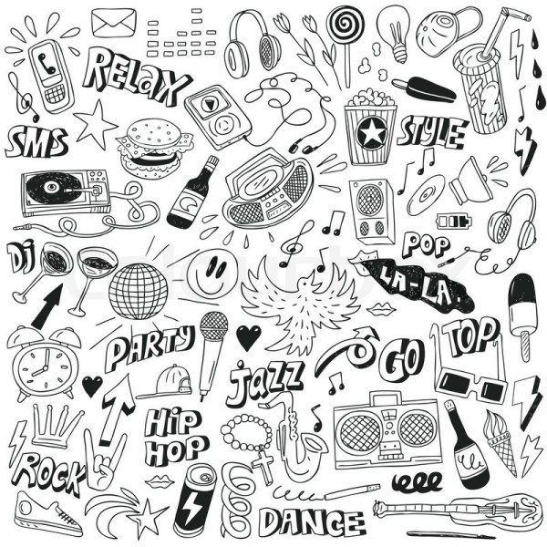 Music doodles collection Stock Vector Colourbox
