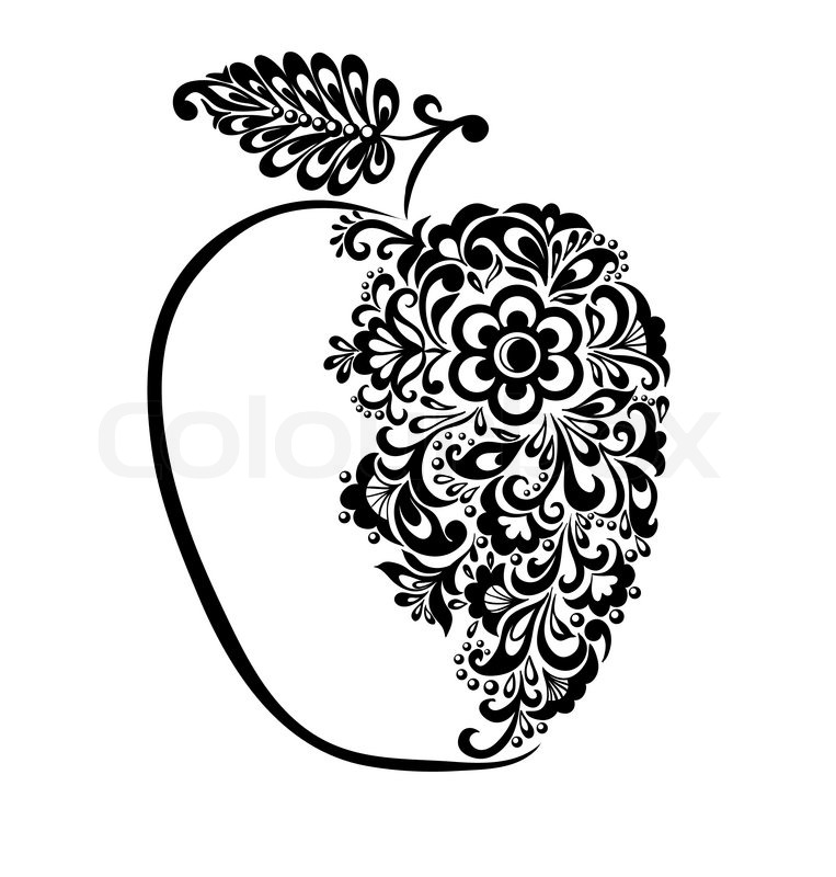 Beautiful black and white apple decorated with floral