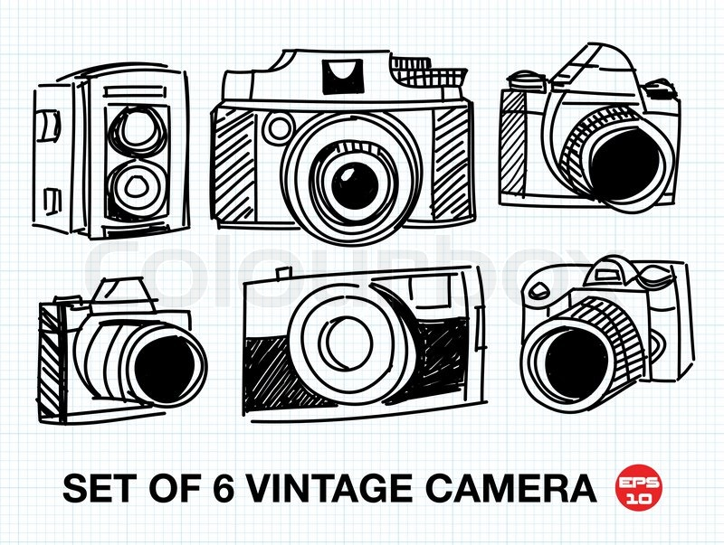 Set of 6 sketch vintage camera, free hand vector