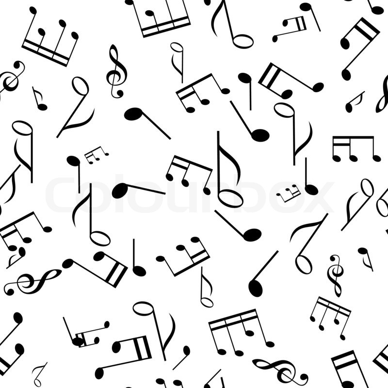 Black and white seamless music texture | Stock image | Colourbox