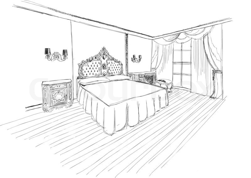 Classic bedroom interior designed in black and white