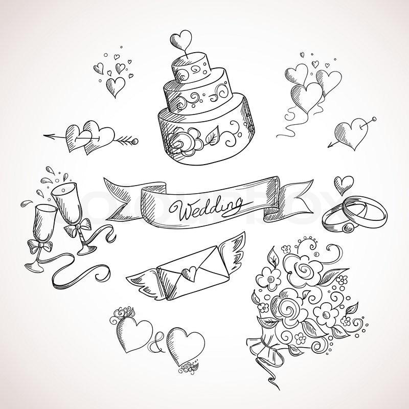 Skizze der Hochzeit DesignElemente  StockVektor  Colourbox