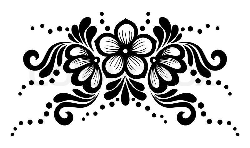 Sort Og Hvid Blonder Blomster Og Blade Isoleret På Hvidt