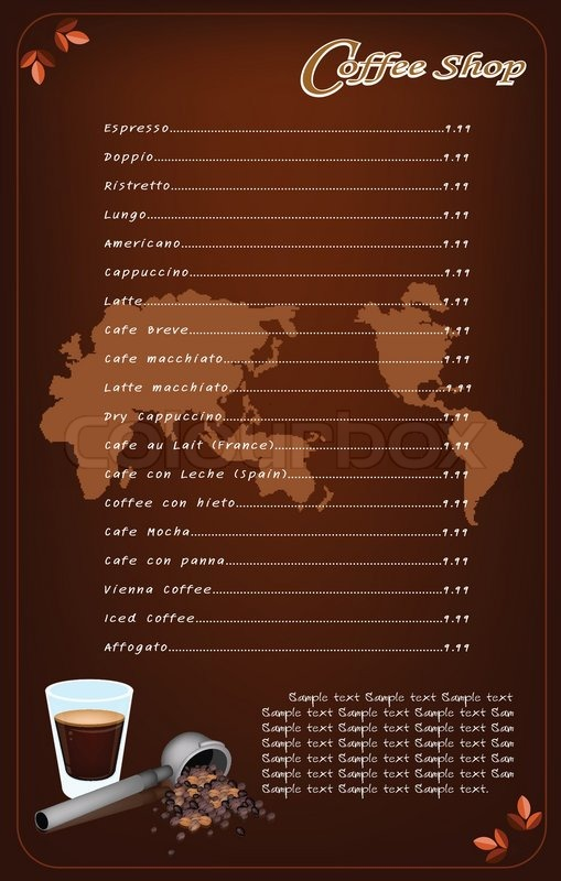A Coffee Menu Template For Cafe And Stock Vector Colourbox