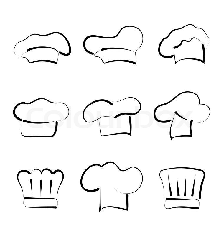 Sæt af kokkehuer isoleret på hvid baggrund , skitse stil