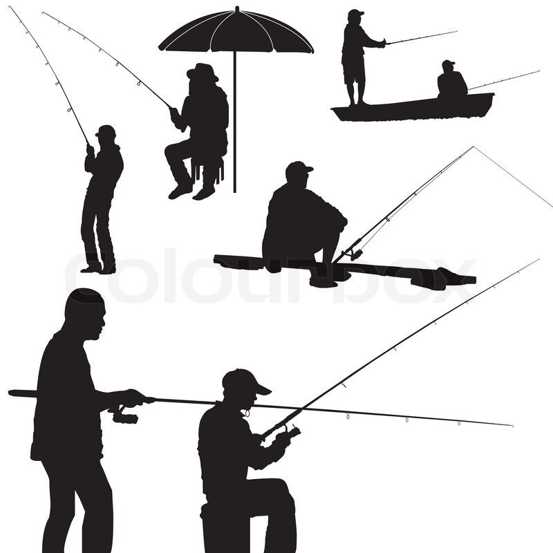 Silhouette of a man fishing isolated on white background