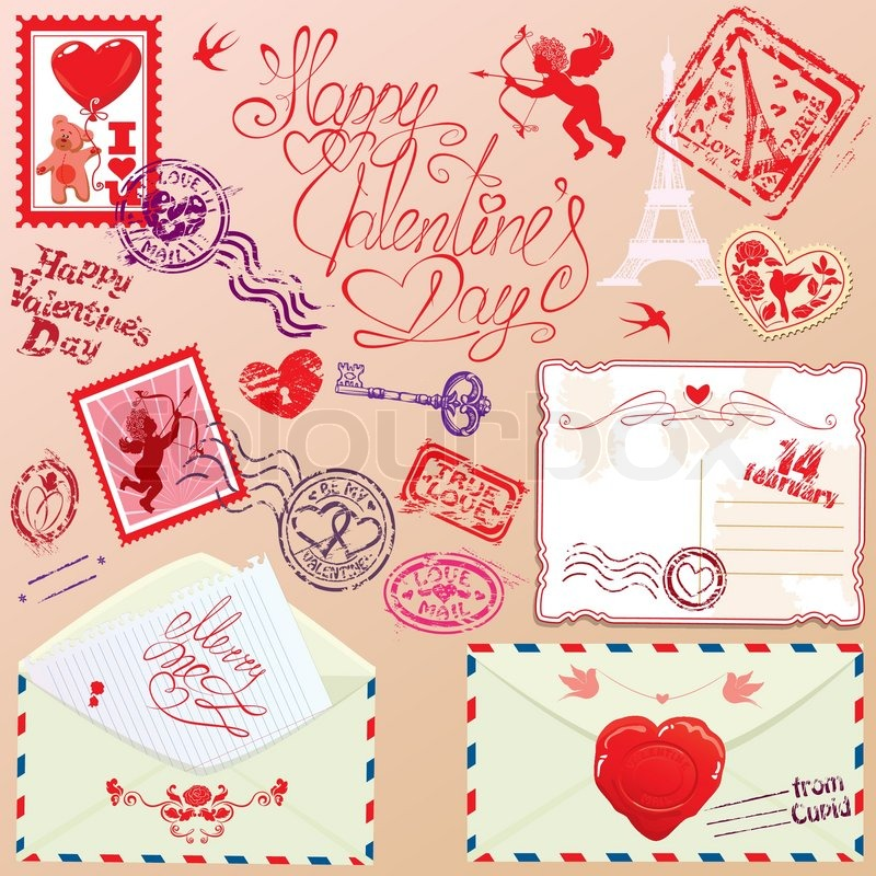 Collection Of Love Mail Design Elements Stamps Envelops