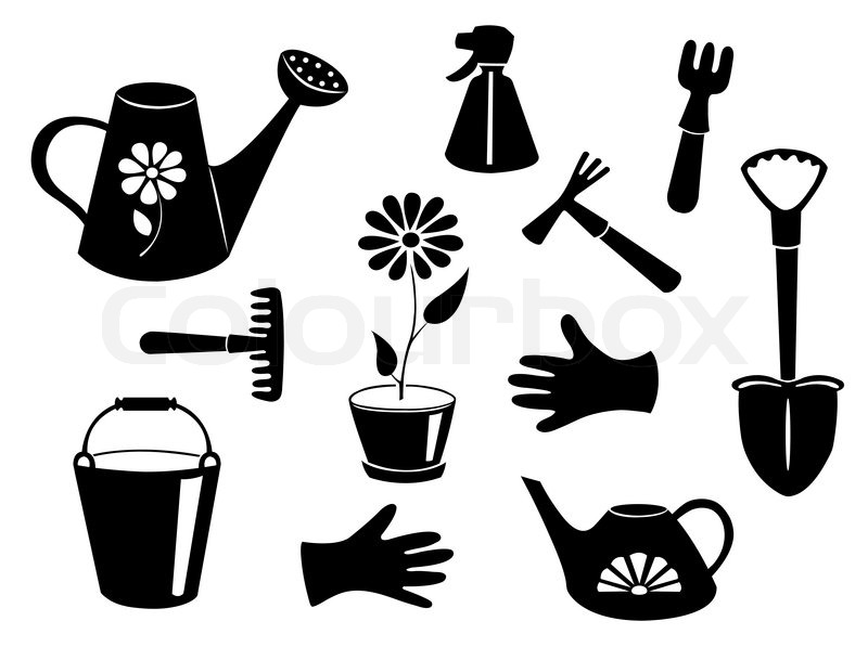 Silhouettes of garden tools. Vector illustration. Isolated