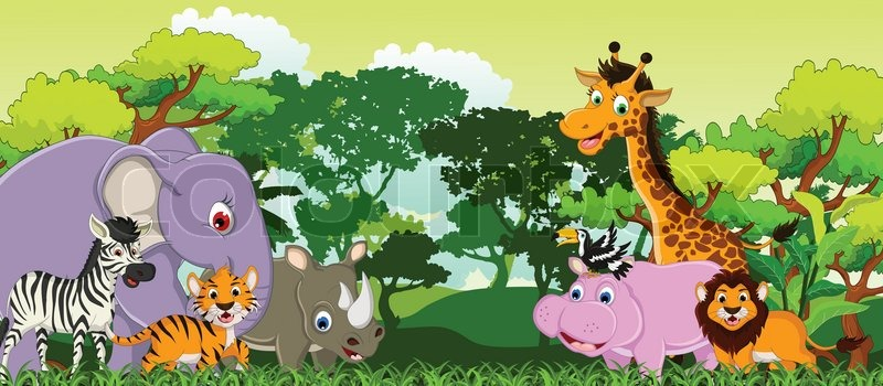 Cute Striped Wallpaper Background Animal Cartoon With Tropical Forest Background Stock