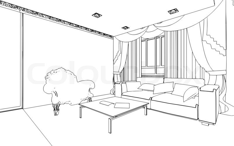 Illustration of an outline sketch of a interior. 3D