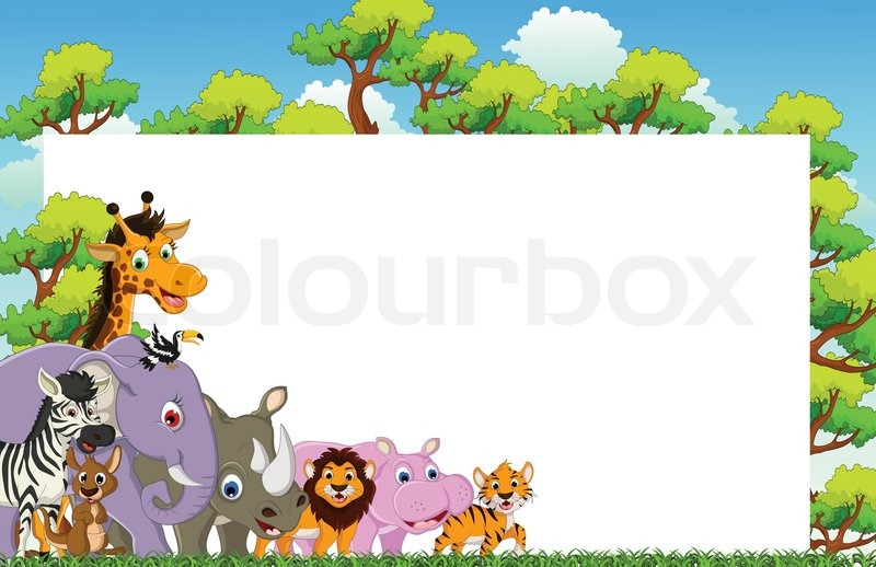 African Animal Wallpaper Border Funny Animal Cartoon With Blank Sign And Tropical Forest
