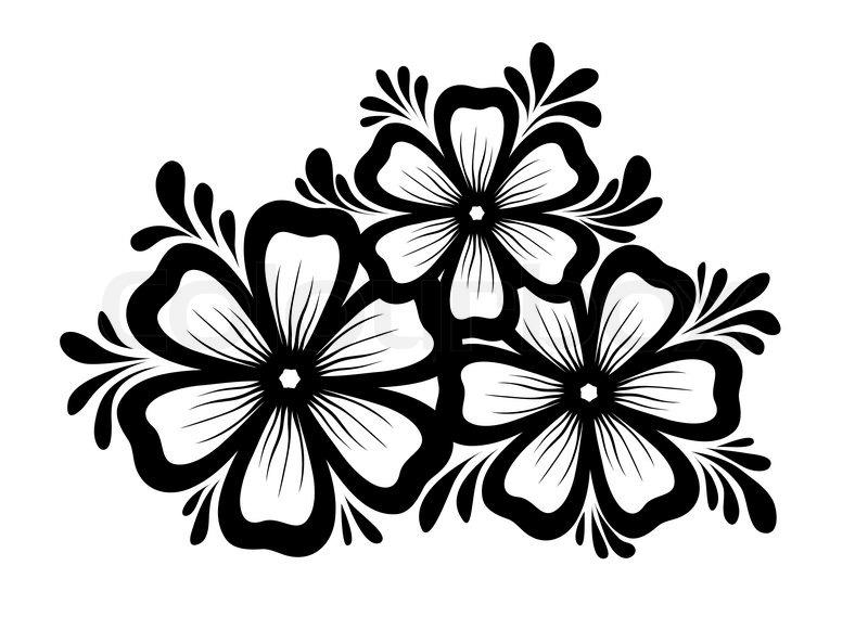Smukke Blomstermotiver Element Sort- ...