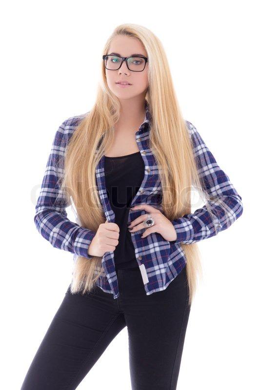 Attraktive Teenager Mdchen In Brillen Mit Schnen Langen