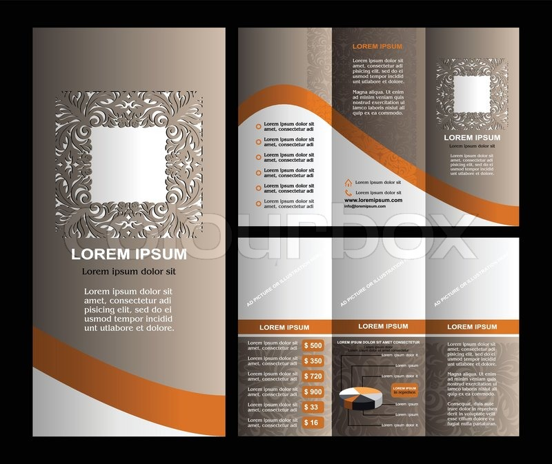 Vintage Style Brochure Template Design With Modern Art