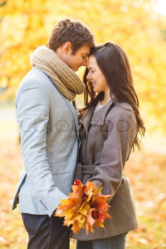 Girl And Boy Sitting On Banch Wallpaper Romantic Couple Kissing In The Autumn Stock Image