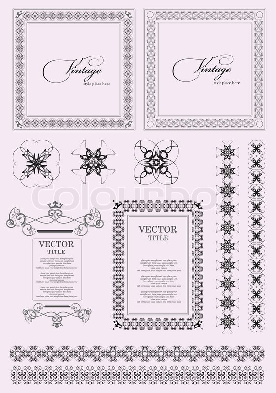 Collection of ornate vintage vector frames with sample
