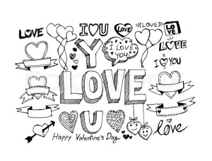 valentine draw hand vector valentines drawing elements labels icons