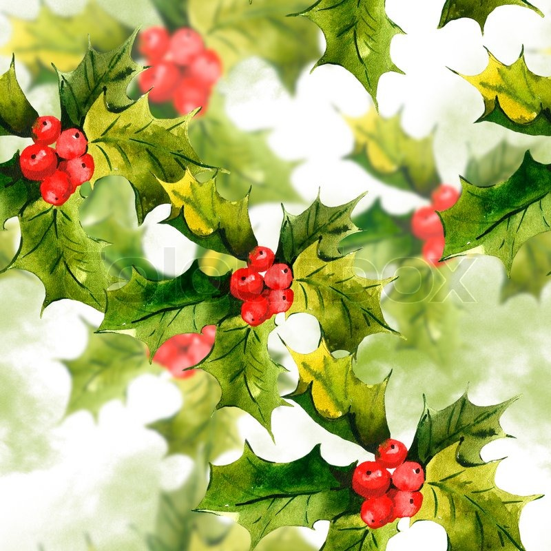 Christmas Holly Watercolor Seamless Background Stock