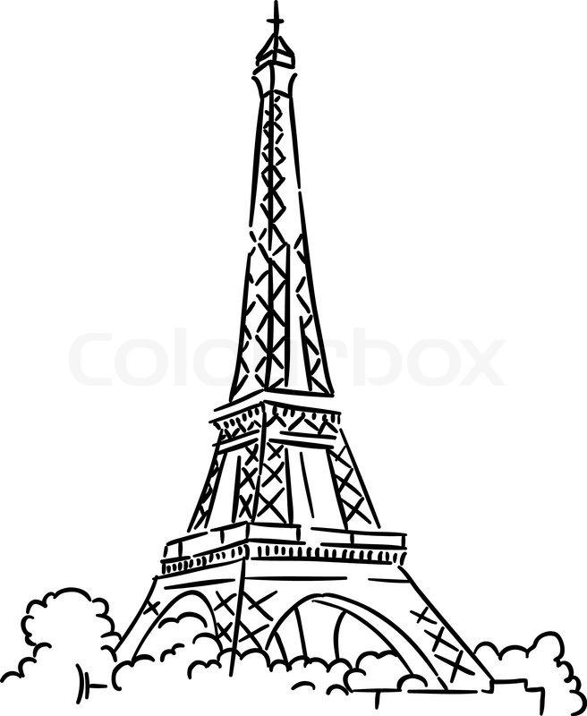 Eiffel tower in Paris, France. Sketch vector illustration