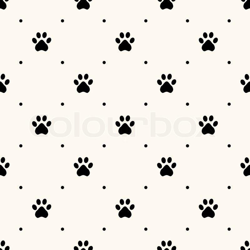 Seamless animal pattern of paw footprint and polka dot