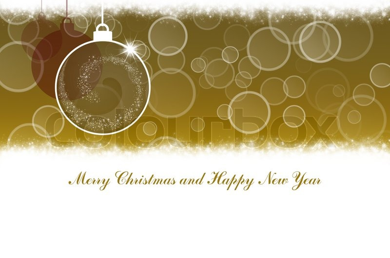 Merry Christmas And Happy New Year Gold Background With