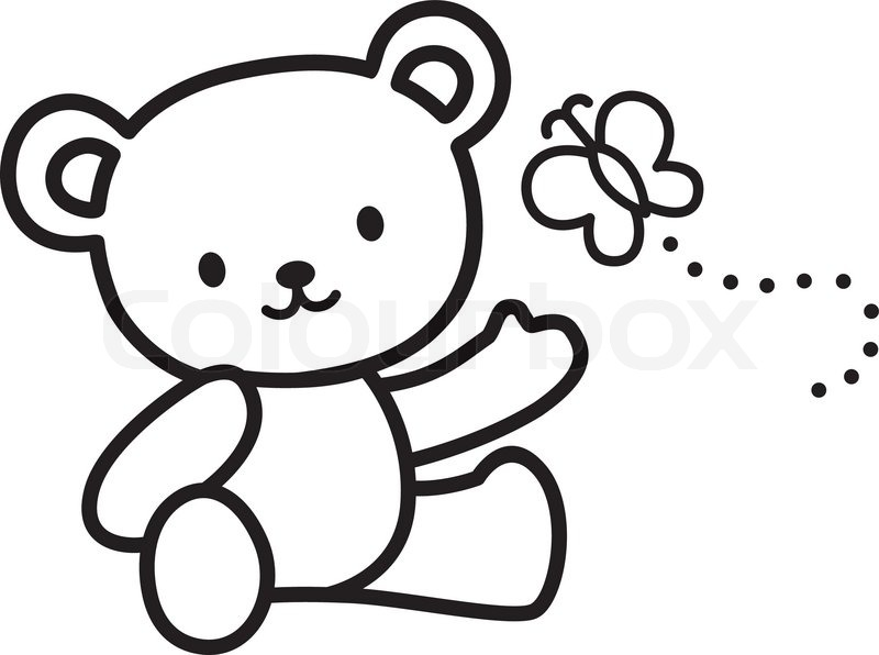 Illustration of Very Cute Teddy Bear with butterfly