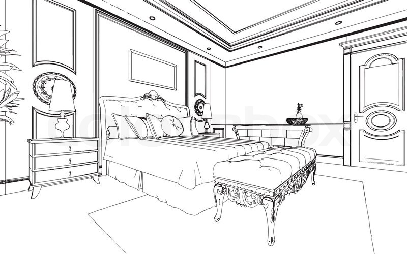 Classic bedroom interior designed in black and white