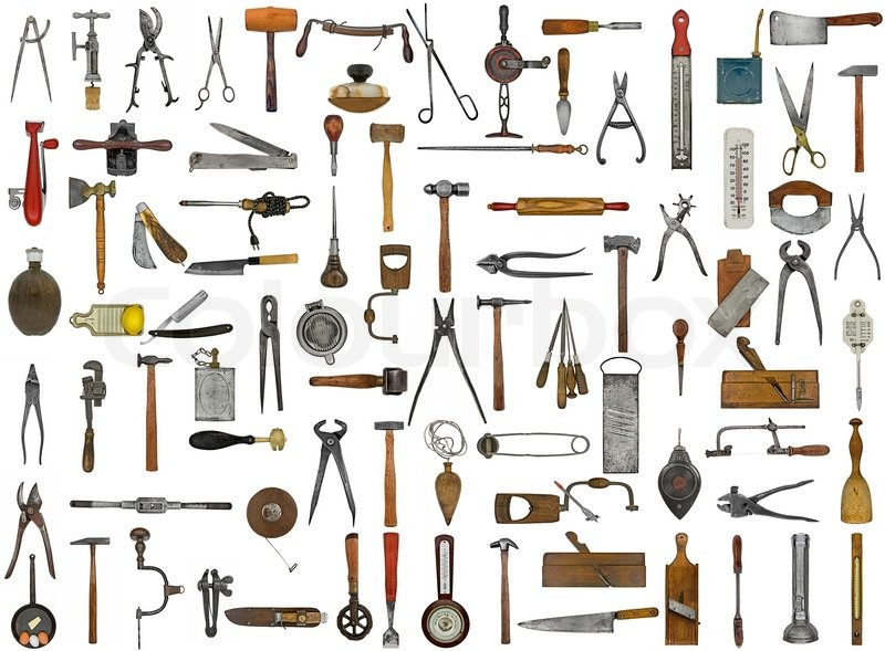 Vintage Tools And Utensils Collage Stock Photo