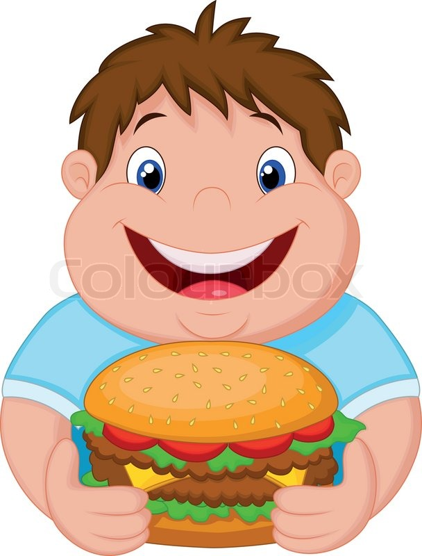 Happy Fat Guy Eating Burger
