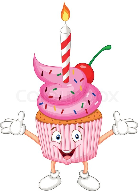Vector Illustration Of Cup Cake Cartoon With Candle