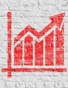 also red growth chart icon on white brick stock photo colourbox rh