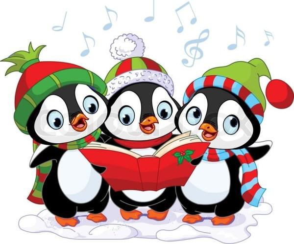 three cute christmas carolers penguins
