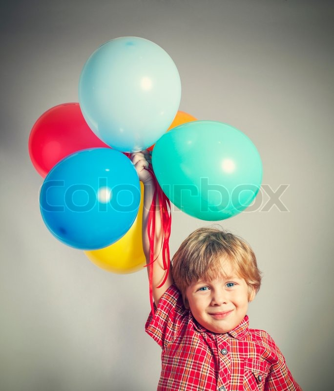 Cute Little Sister Wallpaper Child Holding The Bunch Of Balloons Stock Photo Colourbox