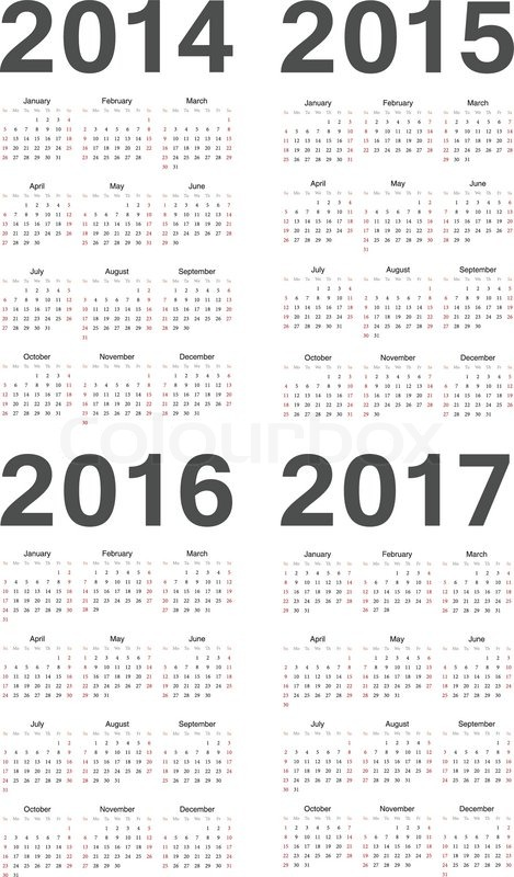 European 2014, 2015, 2016, 2017 year vector calendars