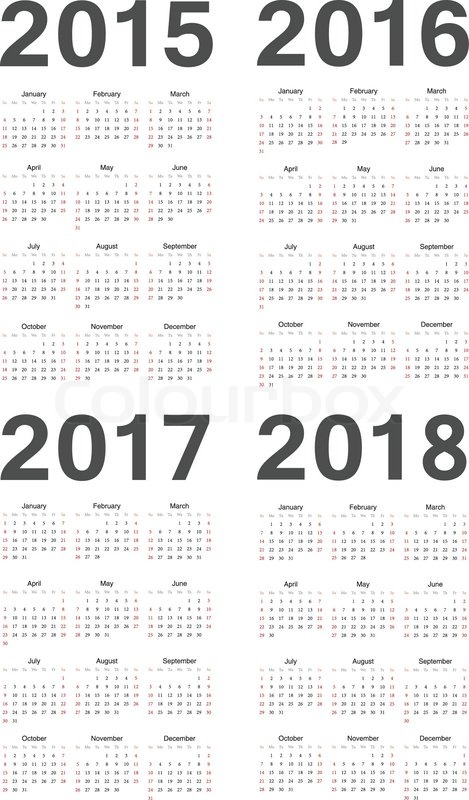 European 2015, 2016, 2017, 2018 year vector calendars