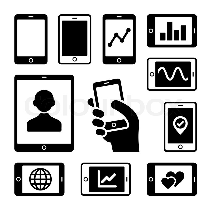 Mobile gadgets with business diagrams icons set. Vector