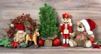 Nostalgic christmas decoration with antique toys teddy ...