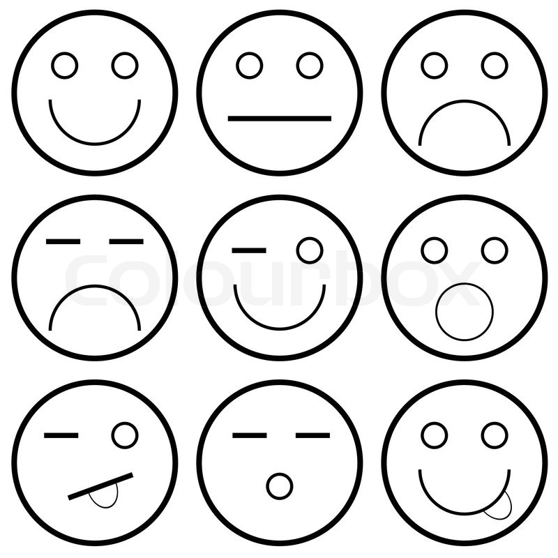 Vector Icons Of Smiley Faces On A White Background Vector