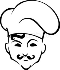 French chef in toque hat in cartoon style for restaurant ...