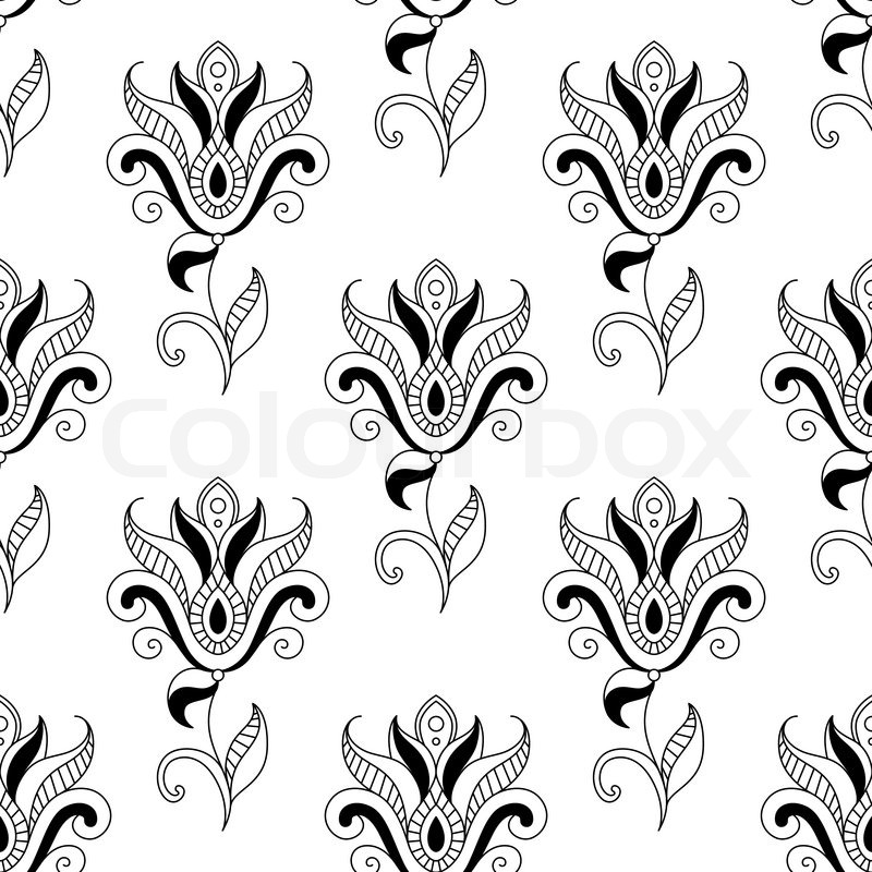 Floral seamless pattern with eastern indian and persian