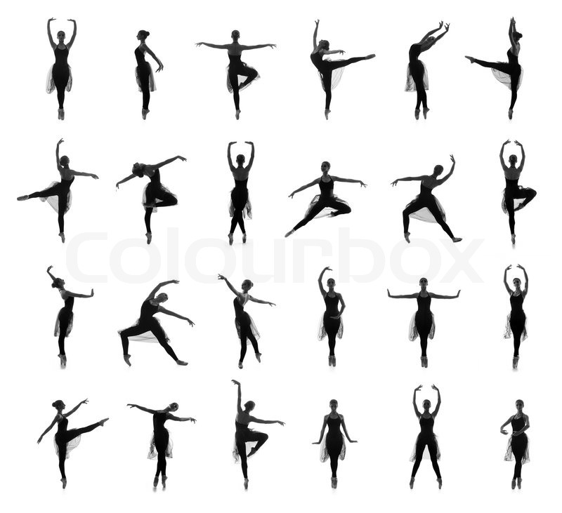 Collection of different ballet poses. Black and white