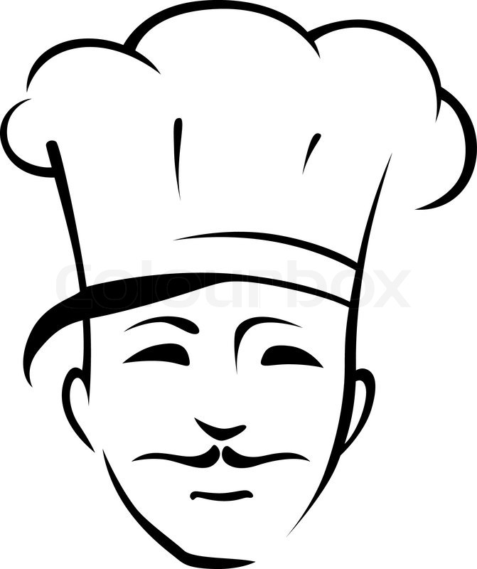 Head of a smiling handsome young chef with a moustache and